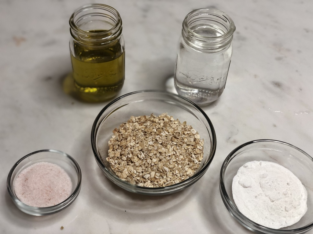 Oatmeal tortillas ingredients- water, oil, rolled oats or oat flour, baking soda, salt