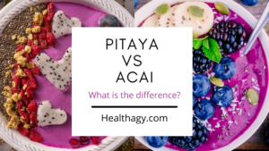 Pitaya bowl is bright pink with toppings. Acai bowl is a bright plum color with topping