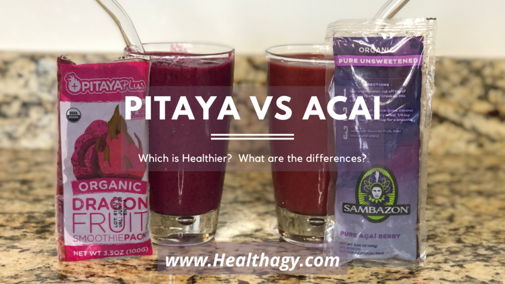When looking at pitaya vs acaí smoothies, pitaya is brighter in pink color and acaí is more of a plum or dull purple color.
