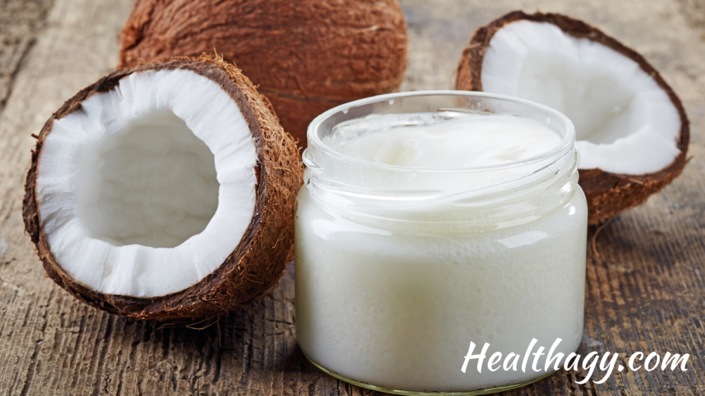 coconut oil is a thick white oil.  It is extracted from brown coconuts.