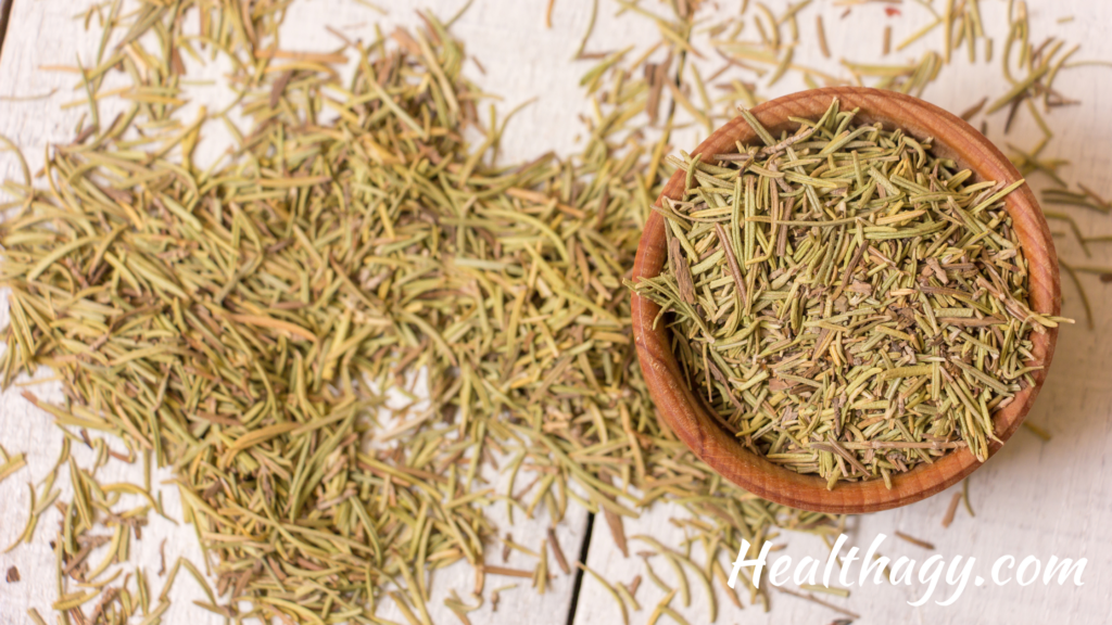 dried rosemary are short, small pieces of hard rosemary.  It is a greenish, tan color.